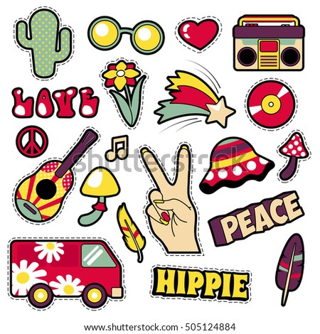 fashion hippie badges  patches