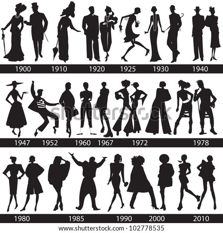 Fashion history, man and woman silhouettes, vector, illustration