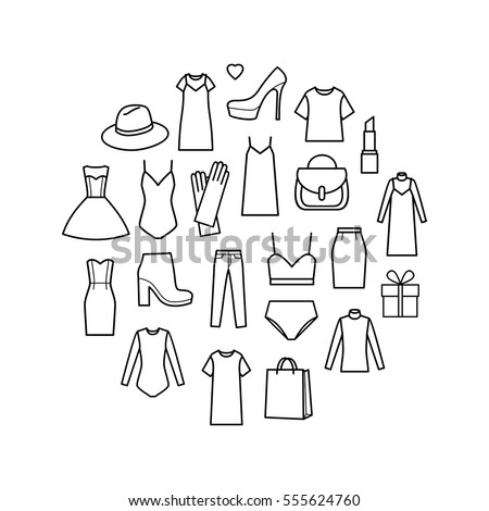 Fashion icons in circle. Vector icons set of  women's clothing and accessories.