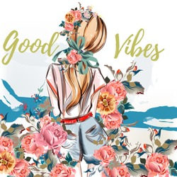 Fashion illustration. Beautiful girl standing back with watercolor roses. Watercolor style, good vibes. Vector design
