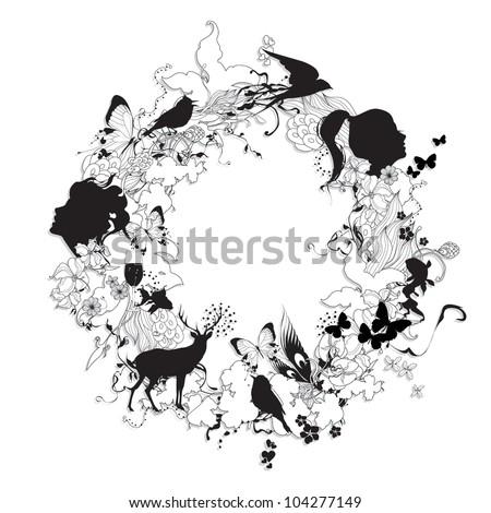 Fashion illustration black and white