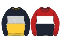 Fashion illustration. Kids sweatshirt set. Technical drawing vector