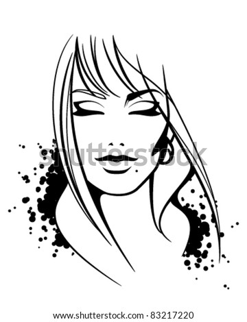 Fashion illustration of beautiful female face. Sketch. Vector without background