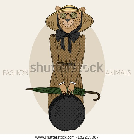 Fashion illustration of cheetah girl dressed up in vintage style