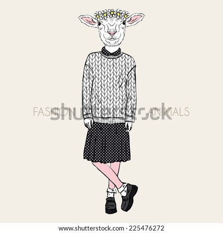Fashion illustration of cute sheep girl in wool knitted pullover