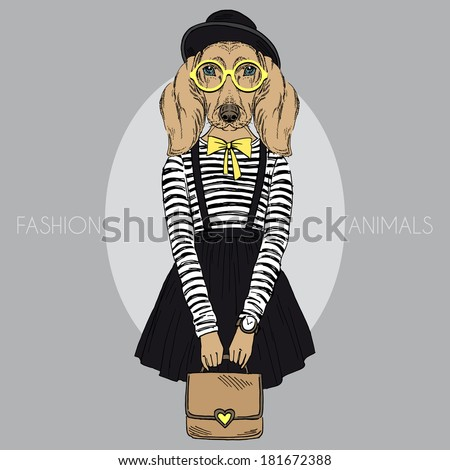 Fashion illustration of dachshund girl hipster