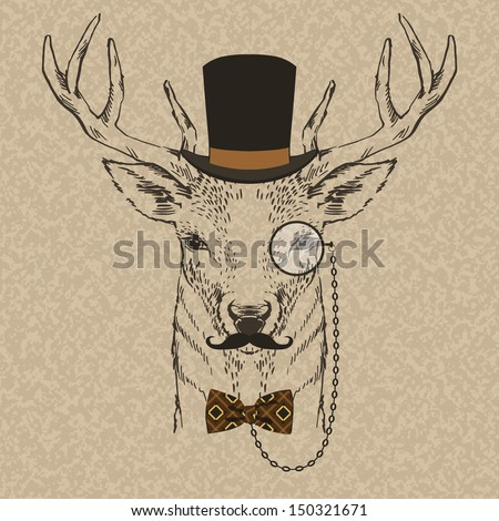 Fashion Illustration of Deer Portrait in Retro Style, Hipster Look, Vector