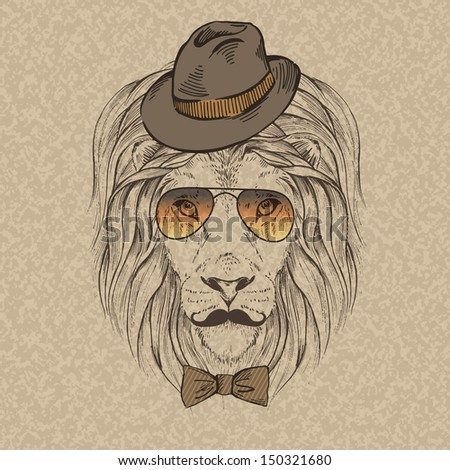 Hipster lion drawing - photo#25
