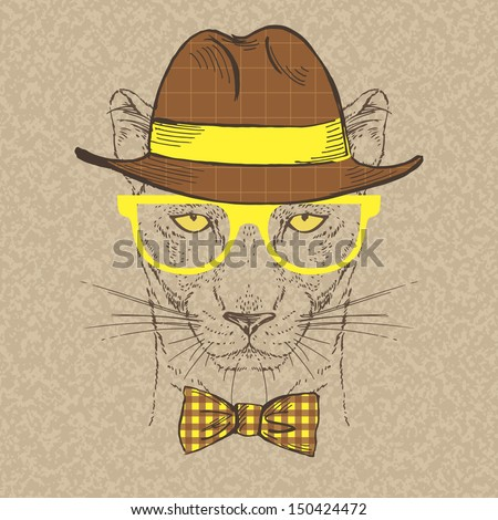 Fashion Illustration of Panther, Hipster Style, Vector Image