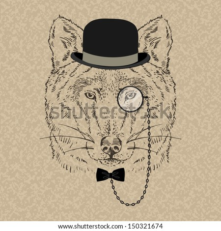 Fashion Illustration of Wolf Portrait in Retro Style, Hipster Look, Vector
