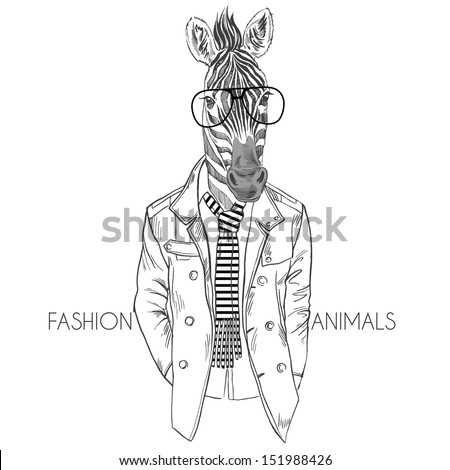 fashion illustration of zebra