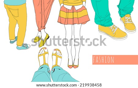 Fashion illustration set Hand drawn vector female figures in different shoes style.Women's outfit Colorful hipster design