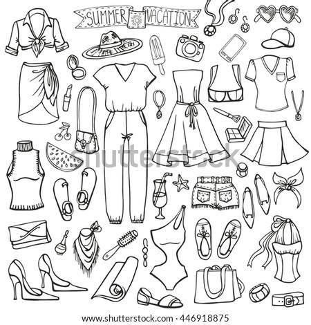 f507228c9e12 Royalty-free Fashion illustration. Summer wear…  446920942 Stock ...