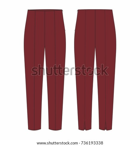 Fashion illustration vector. Women jersey high waisted trousers