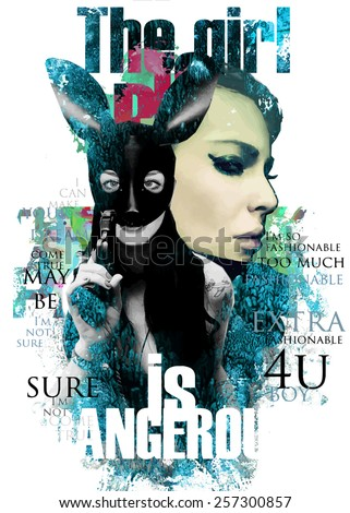 Stock Photo Fashion illustration with lady face and rabbit girl with a gun