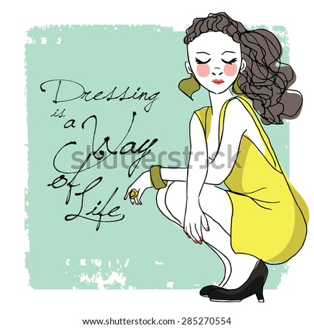 fashion illustration with quote