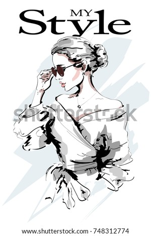 Fashion lady. Beautiful young woman portrait. Fashion woman in sunglasses. Stylish girl. Sketch. Vector illustration.
