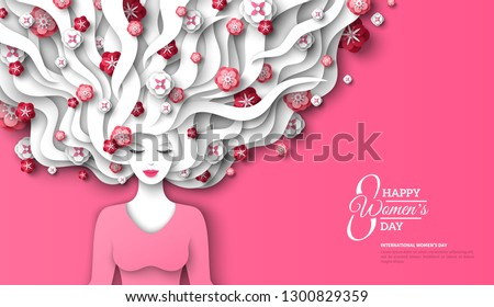 Fashion lady with paper cut long hair and flowers on pink background. Vector Illustration. 8 March, International Womens Day flyer template.