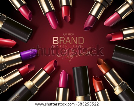 Fashion lipstick ads, colorful lipsticks arranged in a circle isolated on scarlet background in 3d illustration, trendy cosmetic design for advertisement