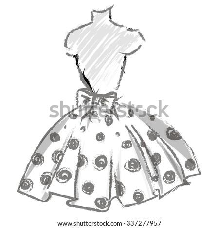 fashion look hand drawn sketch