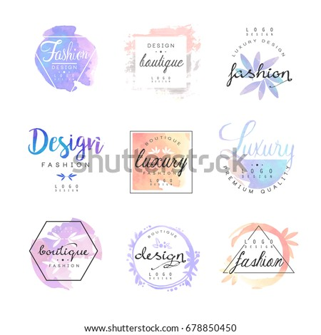 Shutterstock Fashion luxury boutique logo design set, colorful vector Illustrations