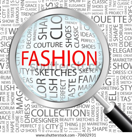 FASHION. Magnifying glass over seamless background with different association terms. Vector illustration.