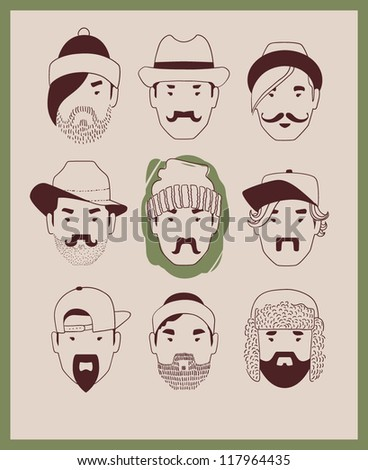 fashion man in hat with beard and mustache collection vector eps 10