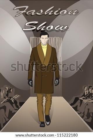 Fashion man on Fashion show background