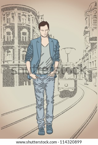 Fashion man on the street background
