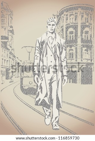 Fashion man sketch on the street background