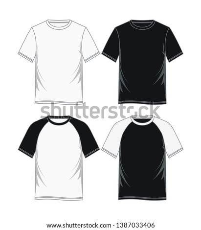 Fashion men's t-shirts.  Black and white variants. vector image