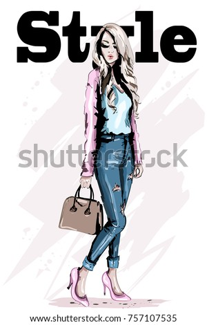 Fashion model posing. Stylish beautiful young woman with bag. Hand drawn blond hair woman. Sketch. Vector illustration.