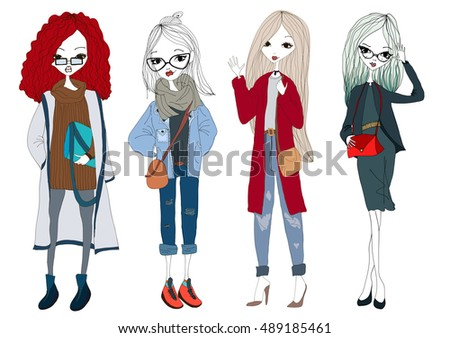 Fashion Model Set with Beautiful Stylish Models Wearing Trendy Clothes. Isolated Fashion Model Set Illustration Collection Vector Fashion Model Set. New York Fashion Model Set. Paris Fashion Model Set