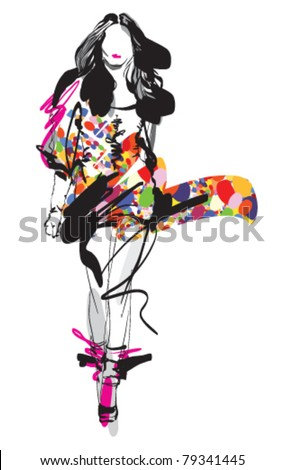 Fashion model. Sketch. Vector illustration