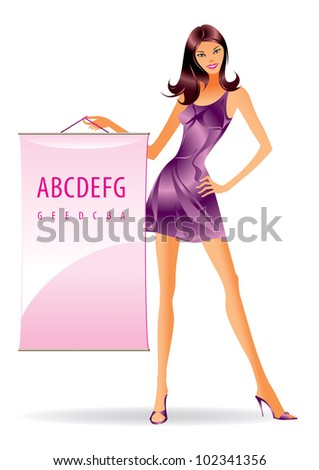 Fashion model with advertising message - vector illustration