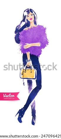 Fashion model with bag. Vector watercolor illustration.