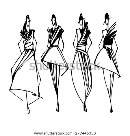 fashion models hand drawn