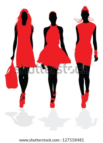 Fashion models in red