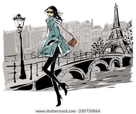 fashion models in sketch style
