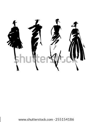 Fashion models silhouette hand drawn