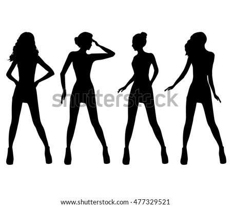 Fashion models silhouettes.Vector.Silhouette of fashion girls top models.Black silhouettes of beautiful womans on white background.Tall slim model woman.Sexy woman silhouettes in short dresses.Female.