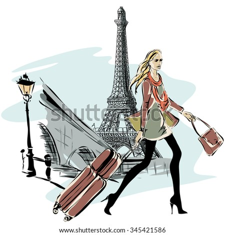 fashion models with luggage in