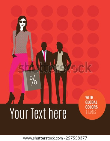 Fashion models with shopping bags in a store sale. Vector illustration Eps10 file. Global colors & layers.