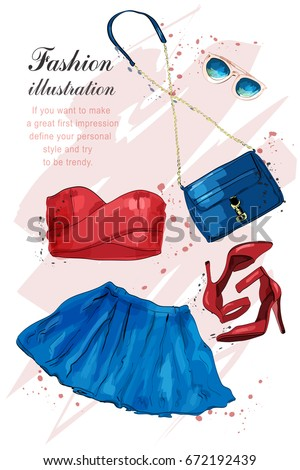 Fashion outfit. Stylish trendy clothing: dress, crop top, sunglasses, bag. Fashion summer girl clothes set, accessories. Woman's fashion look. Sketch. Vector illustration.