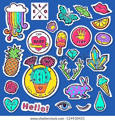 fashion patch badge elements in