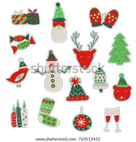 Stock Photo Fashion patch badges for winter holidays with deer, bear, candles, bell, mittens, glasses, bird, cap, candies, santa claus, gifts, christmas tree, stocking and other elements. Vector draw