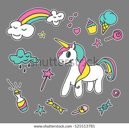 Fashion patch badges. Magic set. Cute magic collection with unicorn, rainbow, milk and sweets. Trend. Vector illustration isolated.