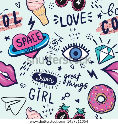 Fashion patch badges. Seamless pattern with pink girl stickers in pop art style, for textile. fashion Modern grunge background textile, prints, paper products, the Web. Girls pattern