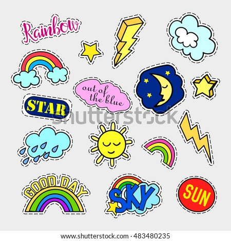 Fashion patch badges. Sky set. Stickers, pins, patches and handwritten notes collection in cartoon 80s-90s comic style. Trend. Vector illustration isolated. Vector clip art.
