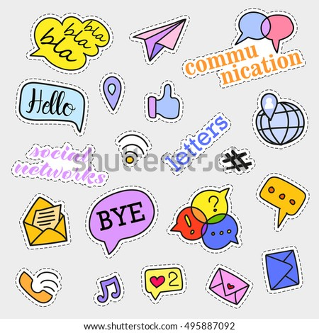 Fashion patch badges. Social networks set. Stickers, pins, patches and handwritten notes collection in cartoon 80s-90s comic style. Trend. Vector illustration isolated. Vector clip art.